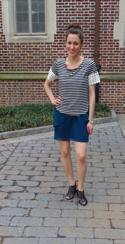 navy chiffon dress fashion blogger philadelphia