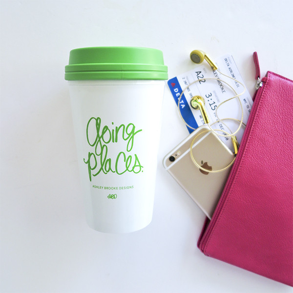 Ashley Brooke Designs travel mug Going Places