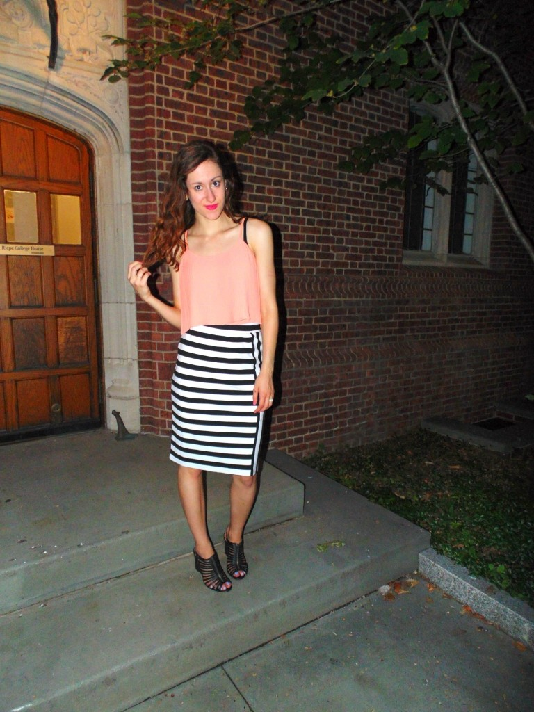 how to wear a black and white striped skirt ten ways