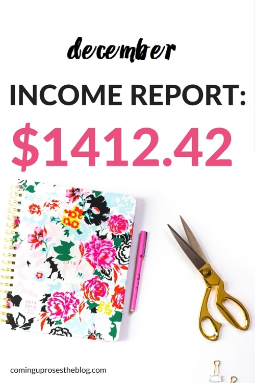 December Income Report: $1412.42 | How to make money as a blogger, even with time off!
