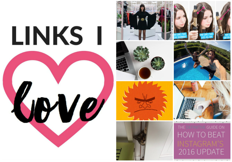 Links I Love March 2016 on Coming Up Roses, including Secrets of Success from NastyGal's Ladyboss, curling iron hacks, a productive twist on your inbox, the wedding vows everyone dreams of, TED talks for bad days, an epic guide to social media calendars, cats being hilarious jerks, and the 411 on Instagram's new algorithm.