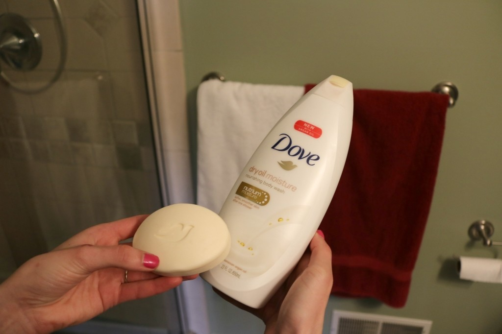 Dove Dry Oil Beauty Bar and Dove Dry Oil Moisture Body Wash