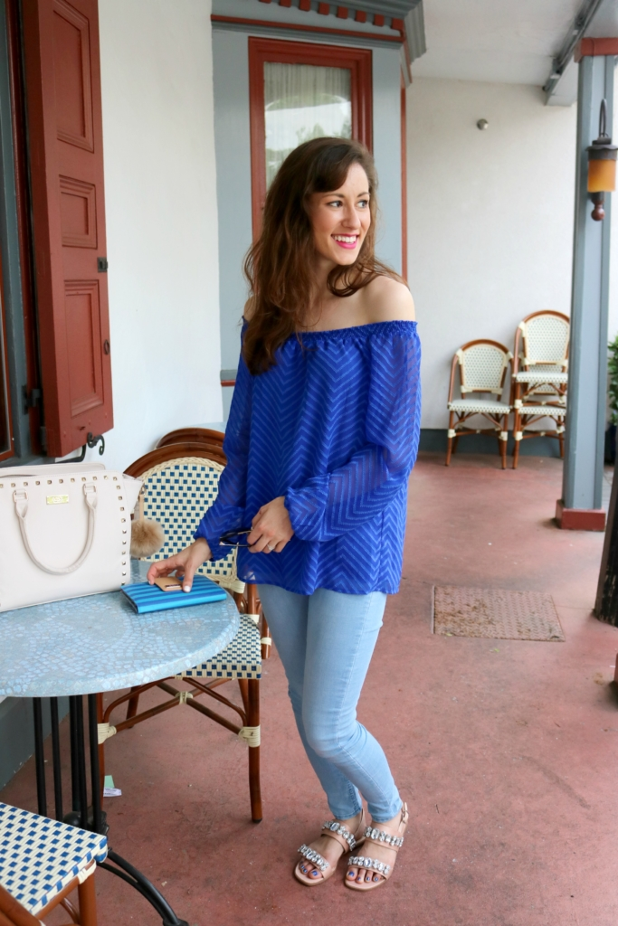 Off-shoulder top and Q&A on Coming Up Roses