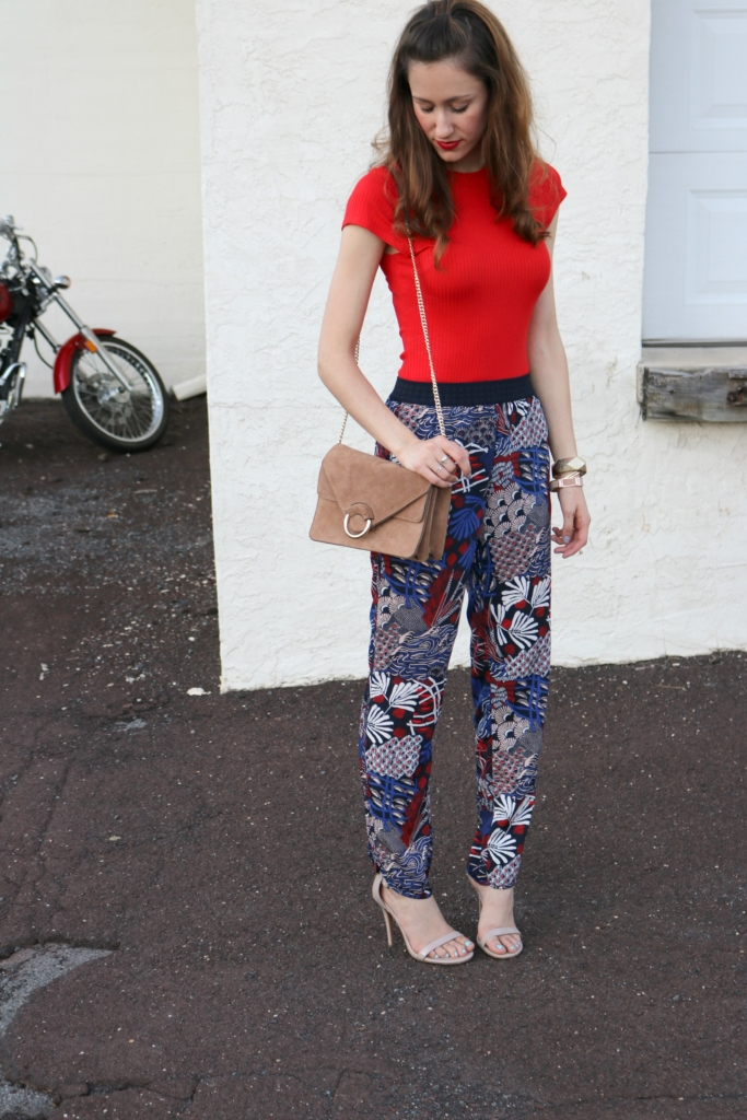 Trend to try: Printed Soft Pants - H&M fall outfit on Coming Up Roses