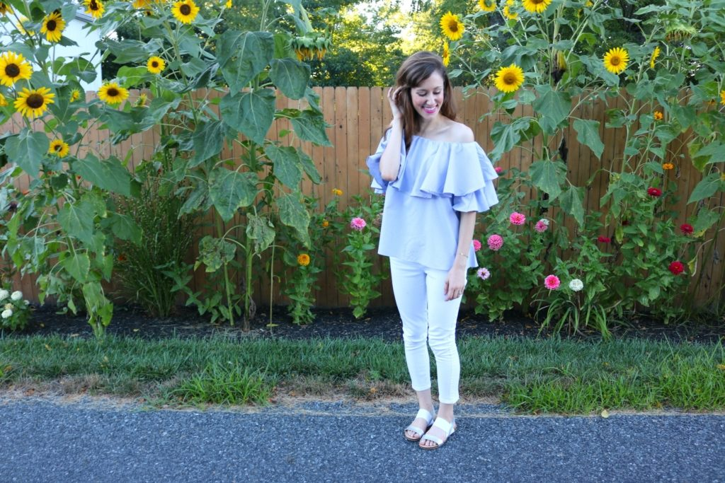 Friday Frills - Blue ruffle off shoulder top and sunflowers on Coming Up Roses + TWO GIVEAWAY!