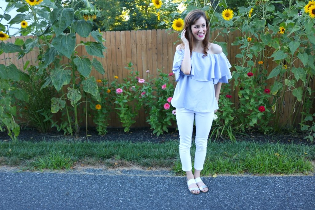 Friday Frills - Blue ruffle off shoulder top and sunflowers on Coming Up Roses + TWO GIVEAWAYS!