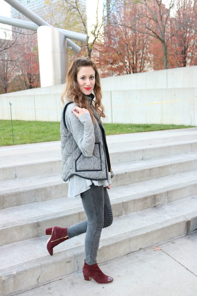 #AskE Instagram Q&A on Coming Up Roses, with J. Crew Herringbone Vest