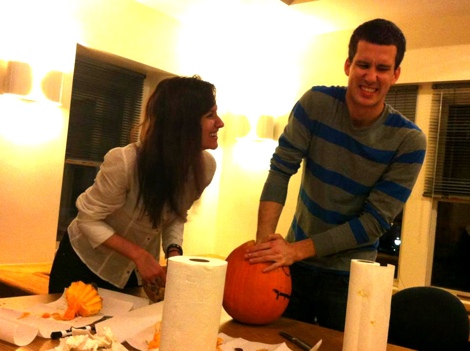 pumpkin carving with boyfriend