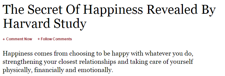 Happiness study from Harvard