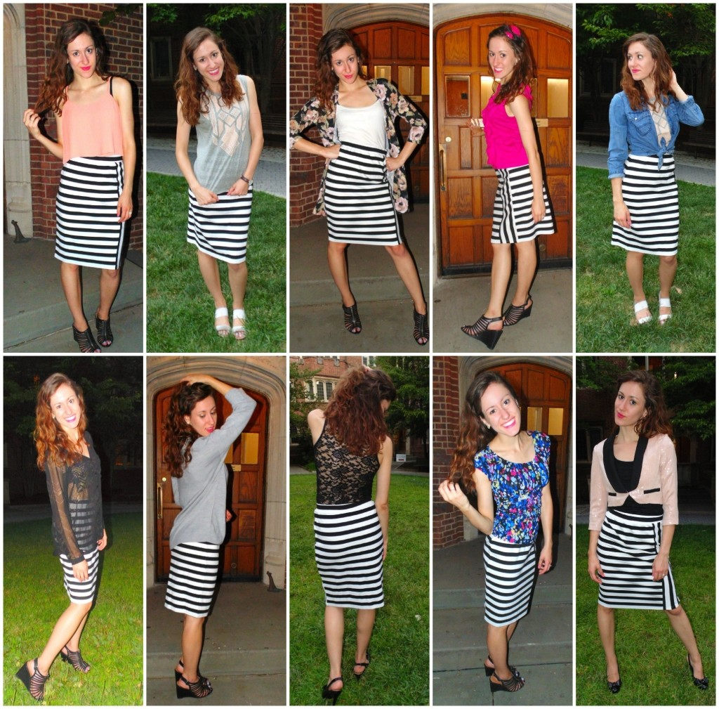 Ways to wear a black and white striped skirt