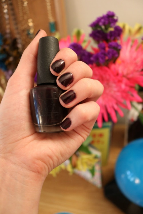 OPI Black Cherry Chutney nail polish - 20 minute pampering routine for busy 20-somethings