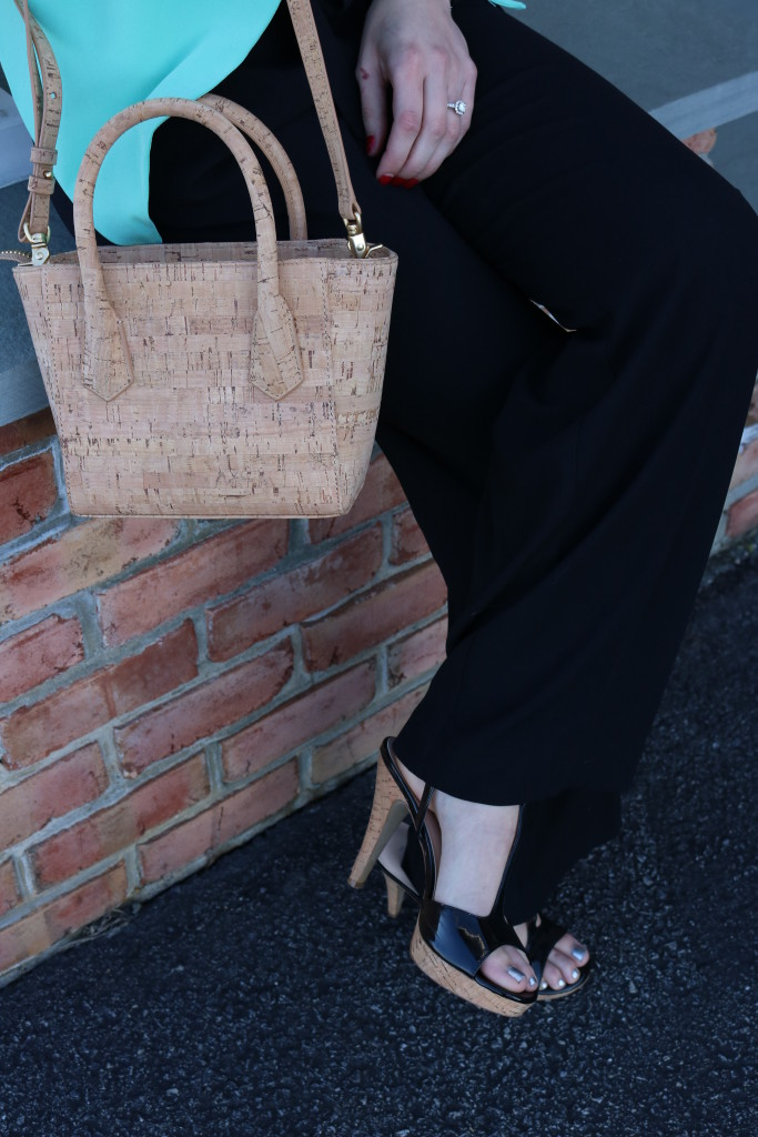 Black jumpsuit with teal blazer and cork Dagne Dover | Business Casual on Coming Up Roses
