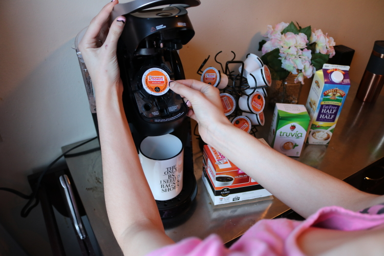 Keurig and Dunkin Coffee morning routine on Coming up Roses