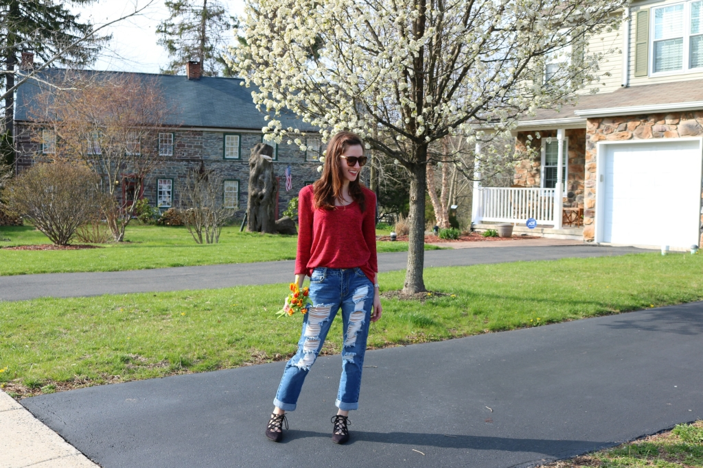 Distressed Boyfriend Jeans from Jess Lea Boutique on Coming Up Roses the blog