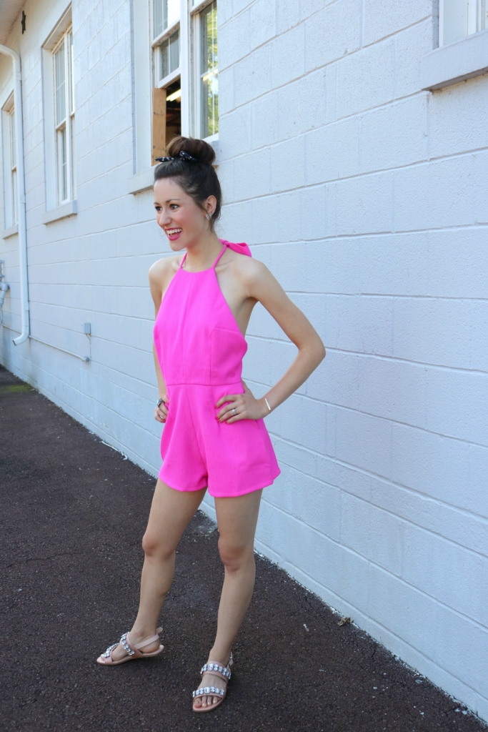 My go-to summer confidence outfit - hot pink romper on Coming Up Roses