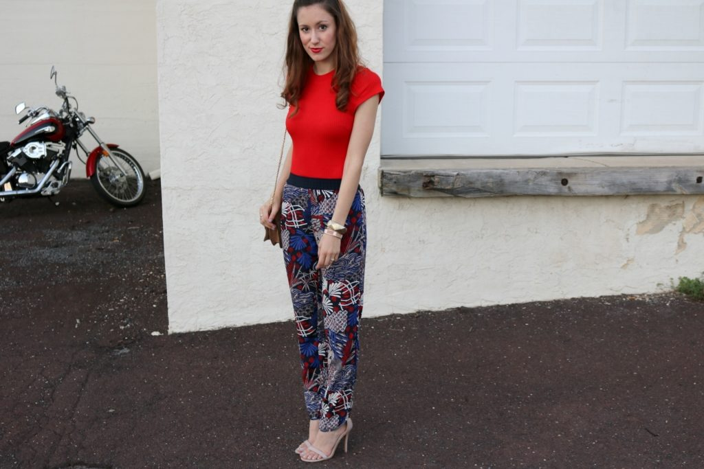 Trend to try: Printed Pants - H&M fall outfit on Coming Up Roses