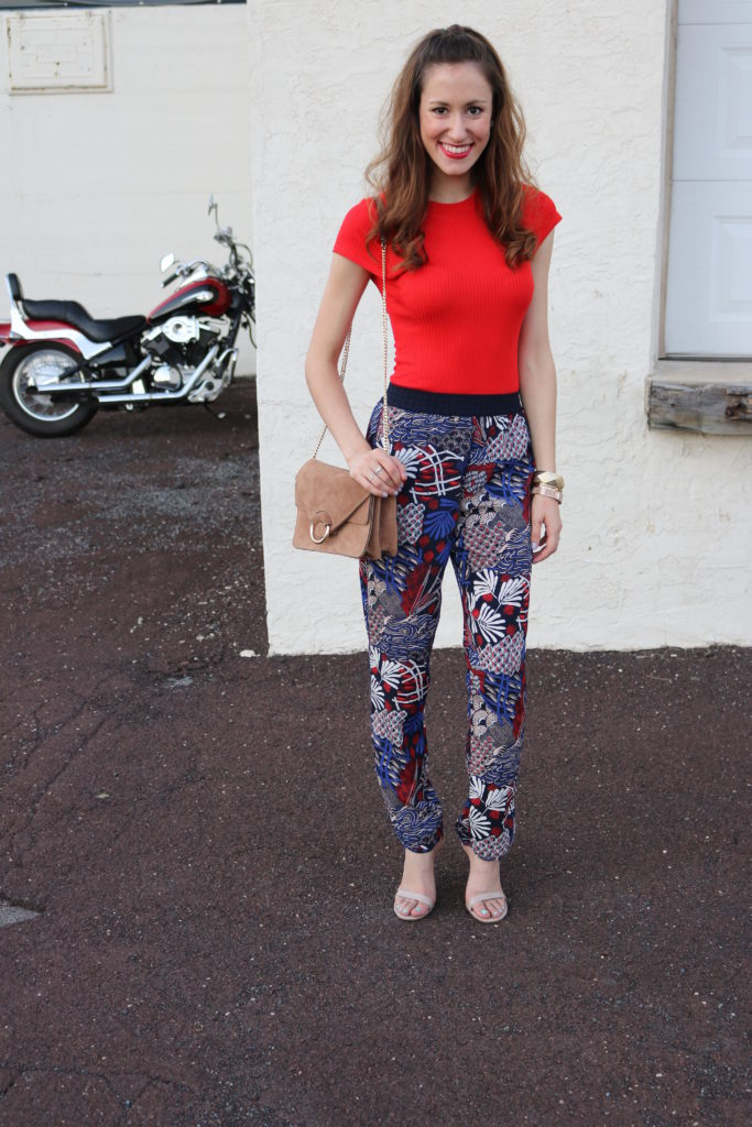 Trend to try: Patterned Soft Pants - H&M fall outfit on Coming Up Roses
