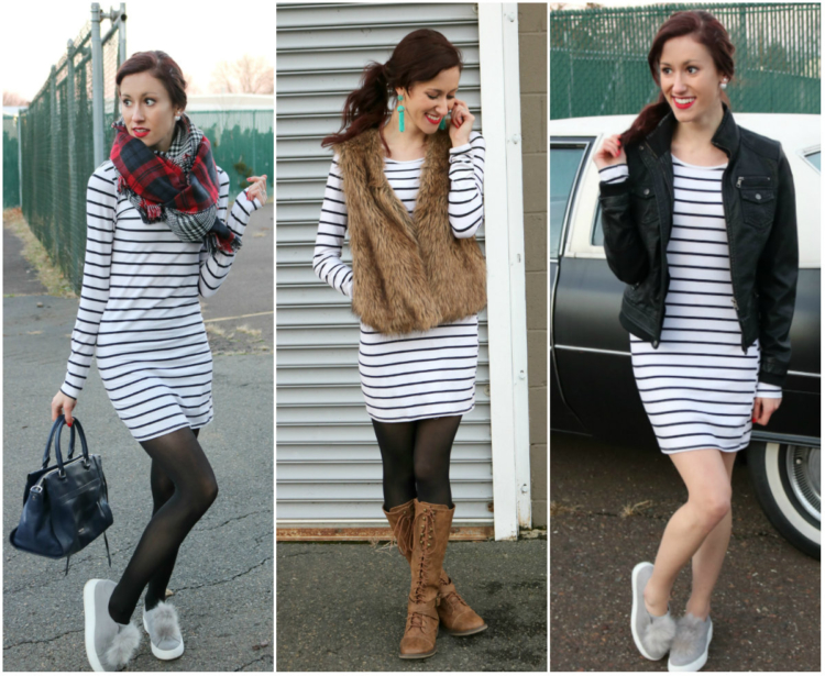 1 Thing, 3 Ways: Striped Dress - How to Wear a Striped Dress 3 Ways, on Coming Up Roses