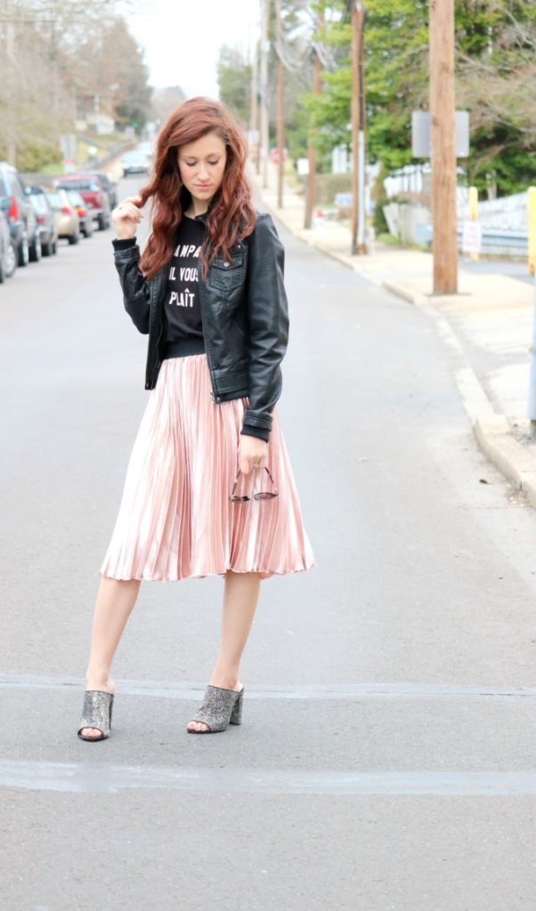 Trend to Try: Pink Pleated Midi Skirt - Pink pleats on Coming Up Roses
