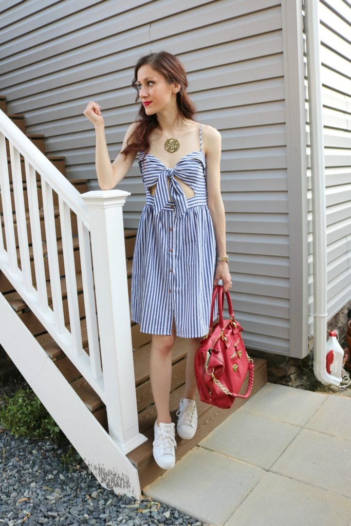 4th of July Stars Stripes 19 Blue and White Striped Dress
