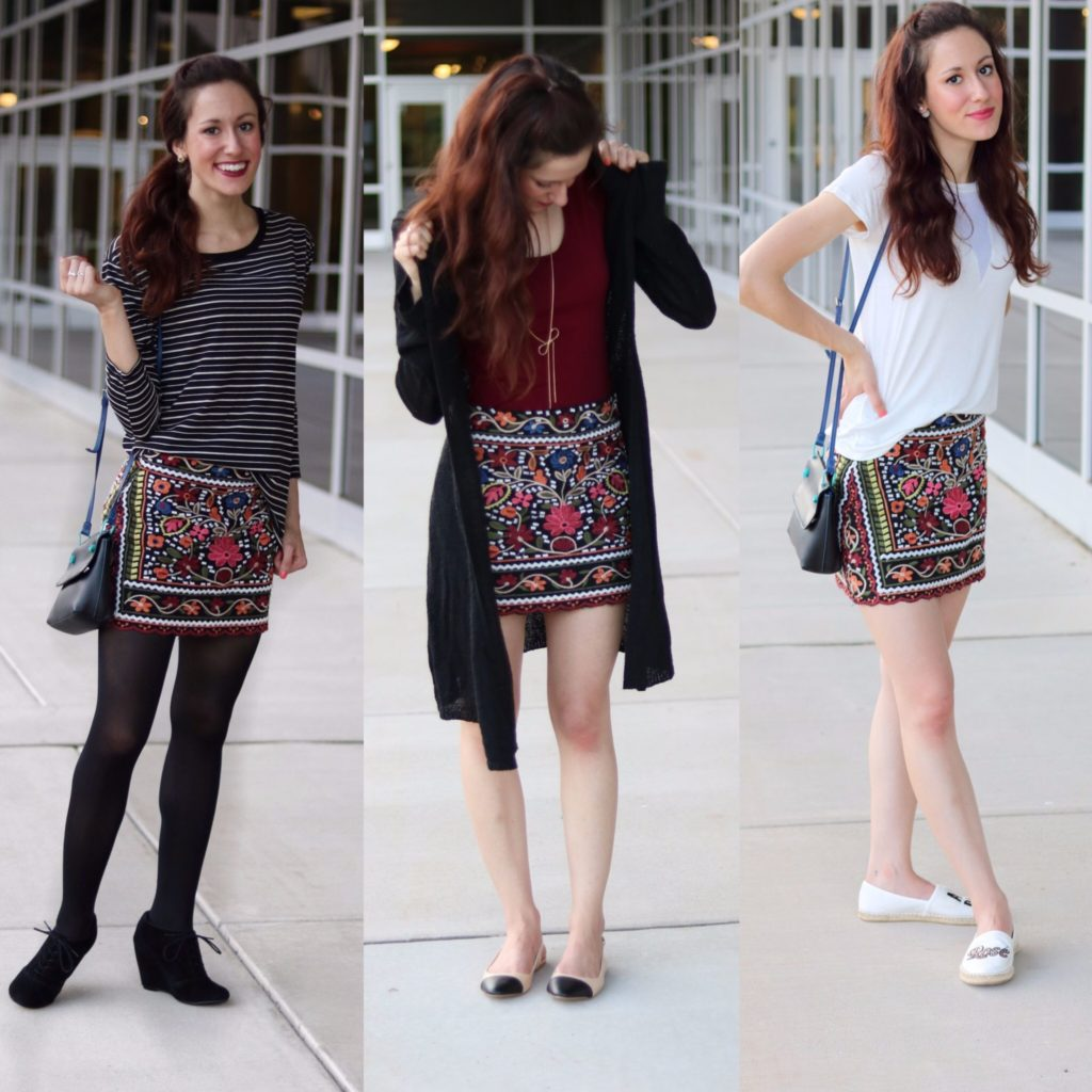 Embroidered Skirt styled 3 Ways for Fall