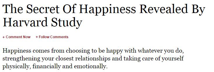 Happiness study from Harvard