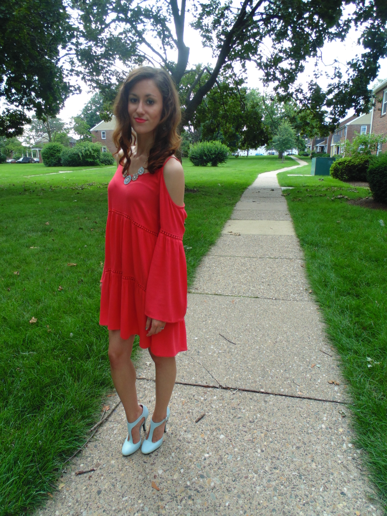 How to style a cold-shoulder dress 10 ways, featuring this coral dress from Jettie Pearl's Boutique!