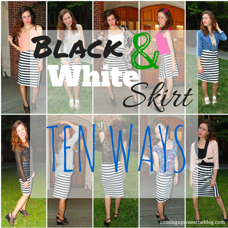 how to wear a black and white striped skirt ten different ways