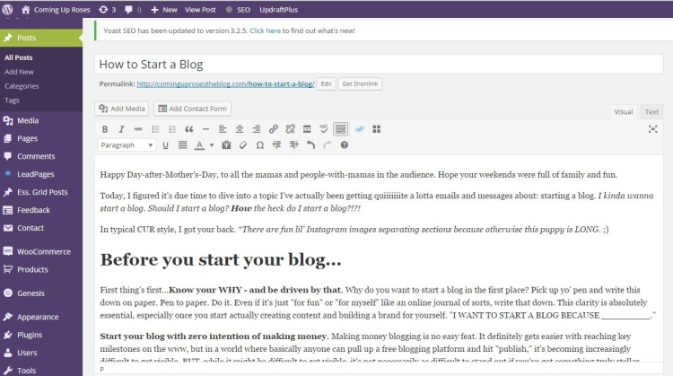 wordpress dashboard - How to Start a Blog by popular Philadelphia lifestyle blogger Coming Up Roses