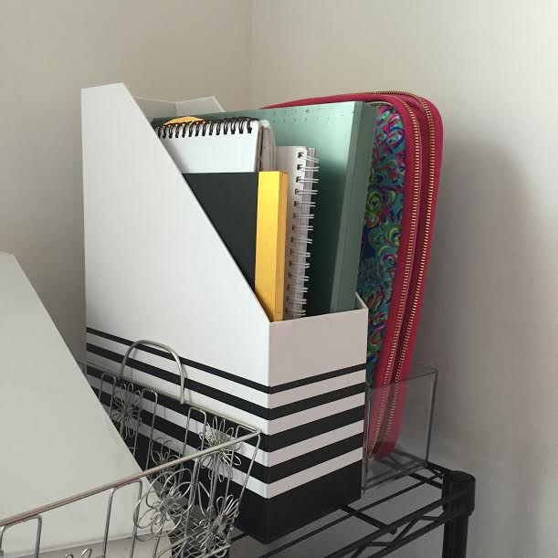 Corie Clark magazine file boxes - 9 Essential Organization Tools for College + Entrepreneurship featured by popular Philadelphia blogger, Coming Up Roses