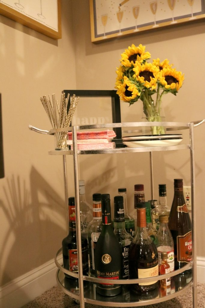 House Tour: Basement + Bar Cart, on Coming Up Roses