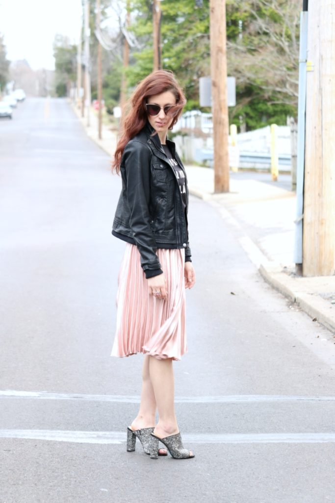 Trend to Try: Pink Pleated Midi Skirt - Pink pleats on Coming Up Roses by popular Philadelphia fashion blogger Coming Up Roses
