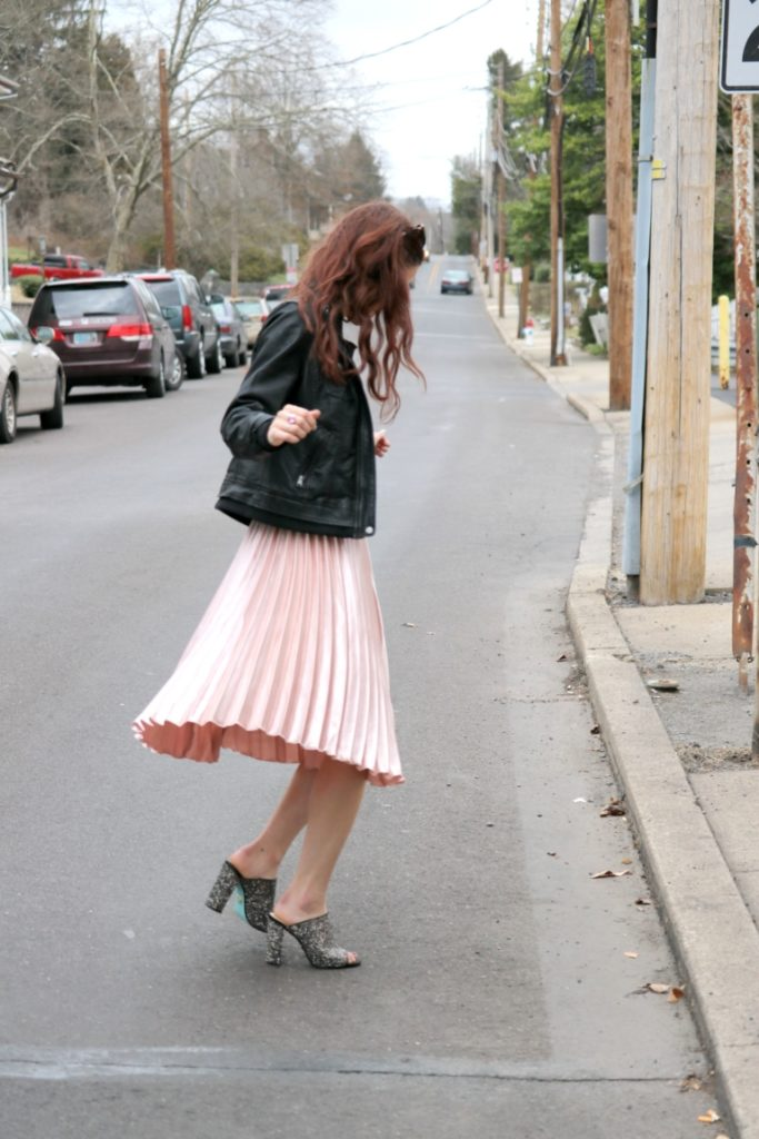 Trend to Try: Pink Pleated Midi Skirt - Pink pleats on Coming Up Roses - by popular Philadelphia fashion blogger Coming Up Roses