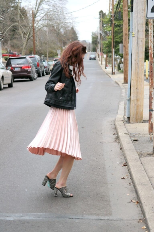 Pleated midi skirt by popular Philadelphia fashion blogger Coming Up Roses