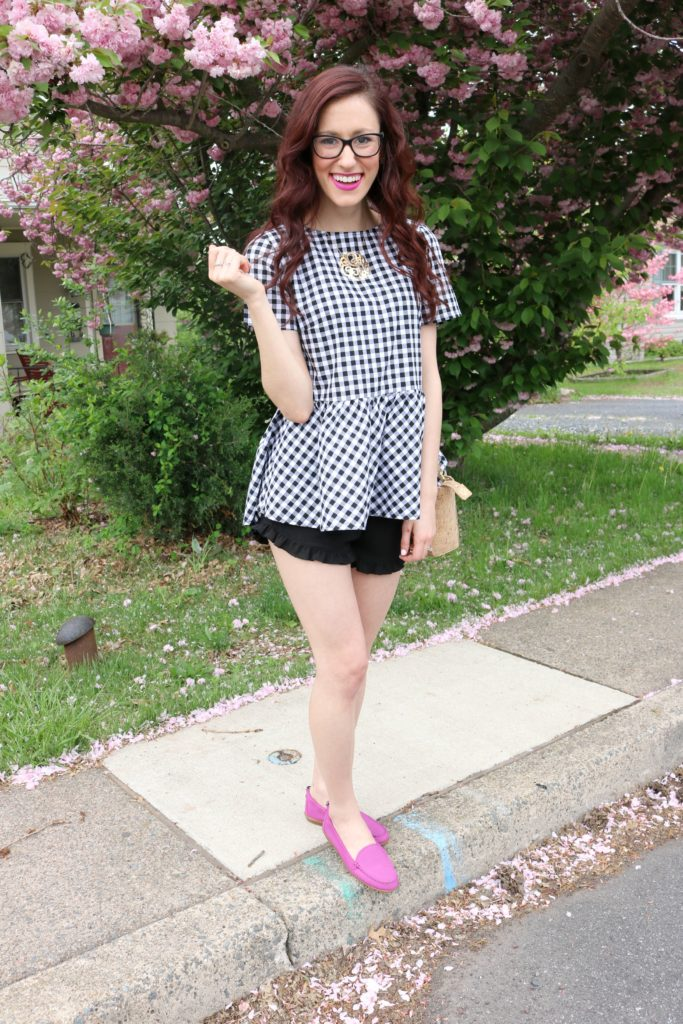 $20 gingham top, berry loafers - #AskE post