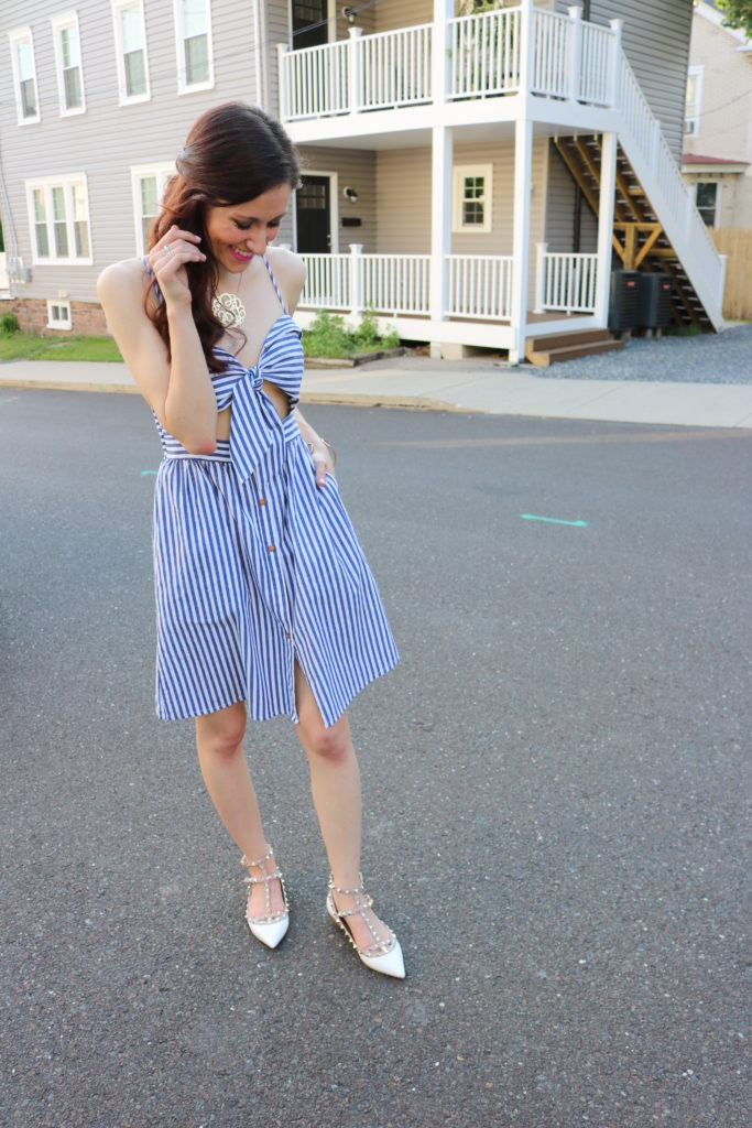 4th of July dresses - $19 blue and white striped dress - How to be a Fashion Blogger: 6 Pose Ideas for Better Style Shots by popular Philadelphia fashion blogger Coming Up Roses