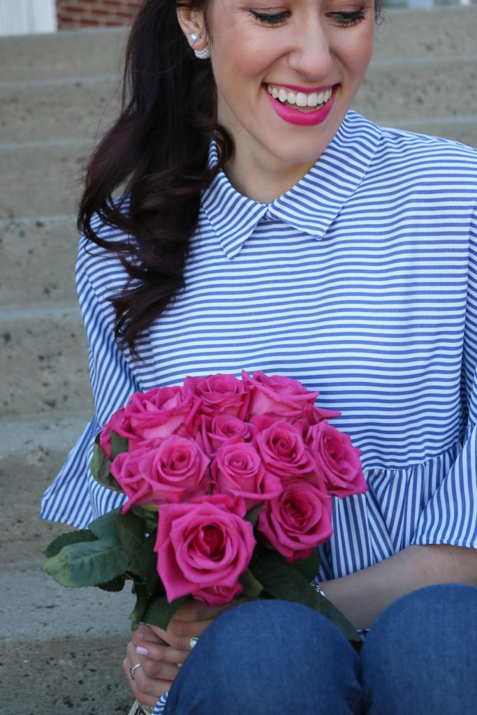 $13 striped peplum top - #AskE Q&A - 2017 Reflections + 2018 New Year Goals (+ Reader Survey!) by popular Philadelphia style blogger Coming Up Roses