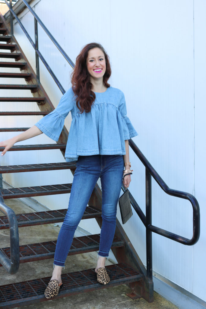 Trend to Try: Denim on Denim - $24 bell sleeve ruffle denim top