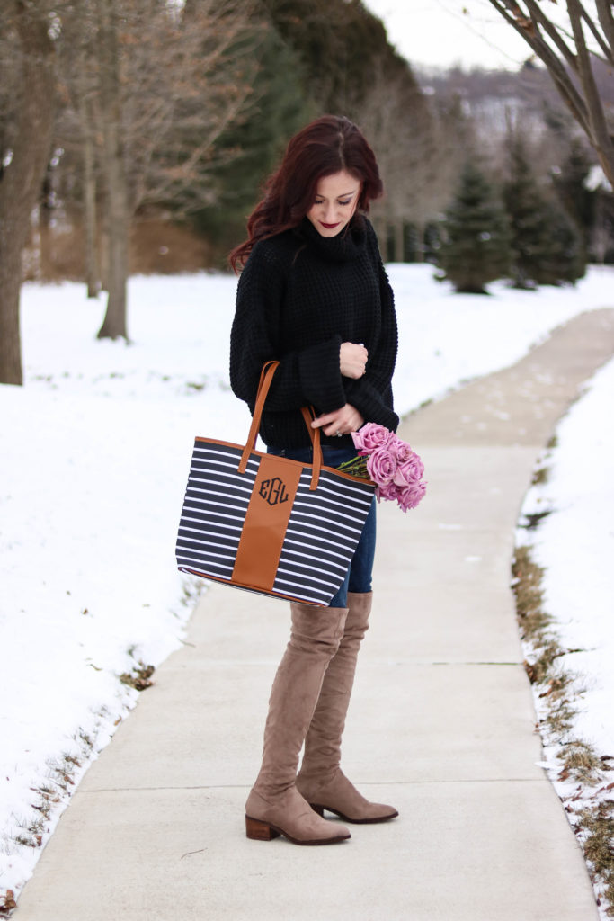 Chunky knit sweater, monogrammed bag, cute winter outfit - #AskE series