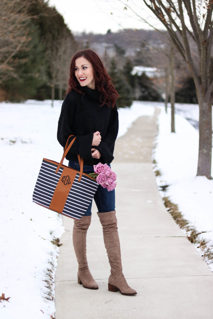 Chunky knit sweater, monogrammed bag, cute winter outfit - #AskE series - #AskE by popular Philadelphia style blogger Coming Up Roses