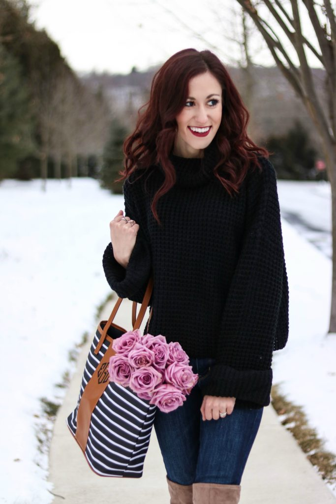 Chunky knit sweater, monogrammed bag, cute winter outfit - #AskE series - #AskE by popular Philadelphia style blogger Coing Up Roses