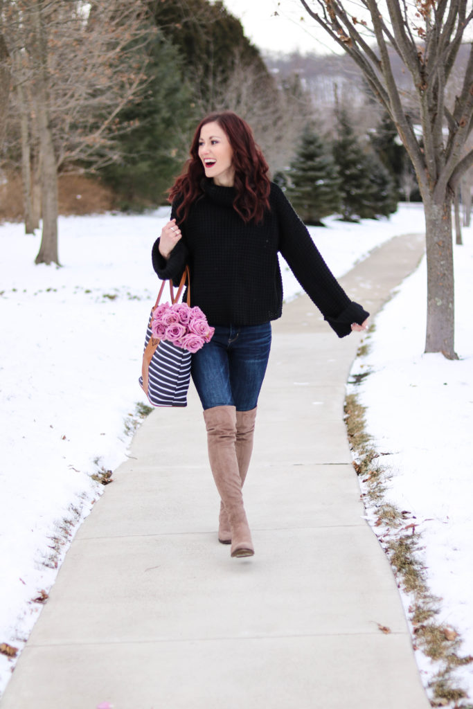 Chunky knit sweater, monogrammed bag, cute winter outfit - #AskE series- #AskE by popular Philadelphia style blogger Coming Up Roses