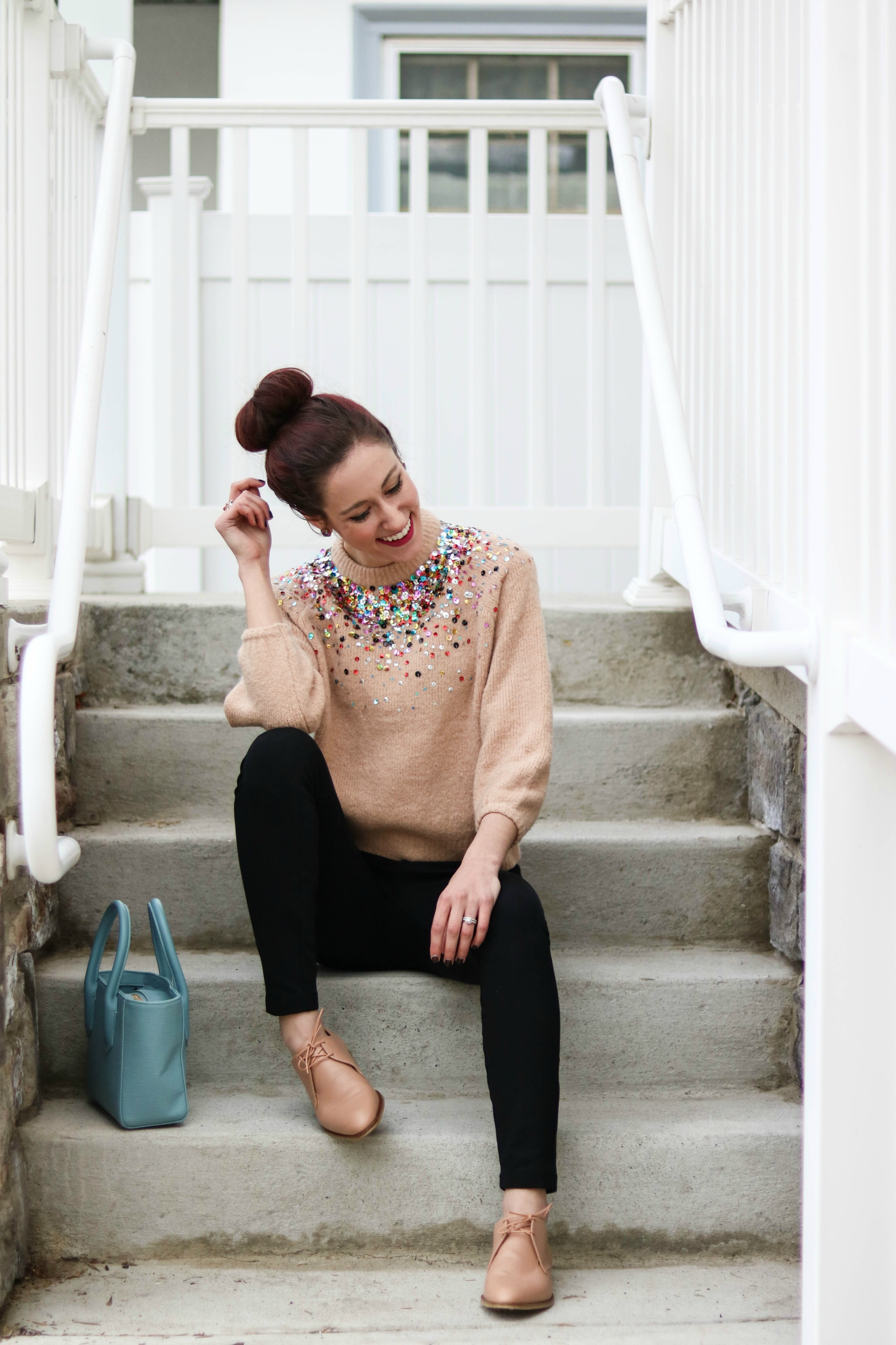CURRENTLY...Daily Details, sequined sweater, ponte pants, bluxh oxfords - CURRENTLY... by popular Philadelphia style blogger Coming Up Roses