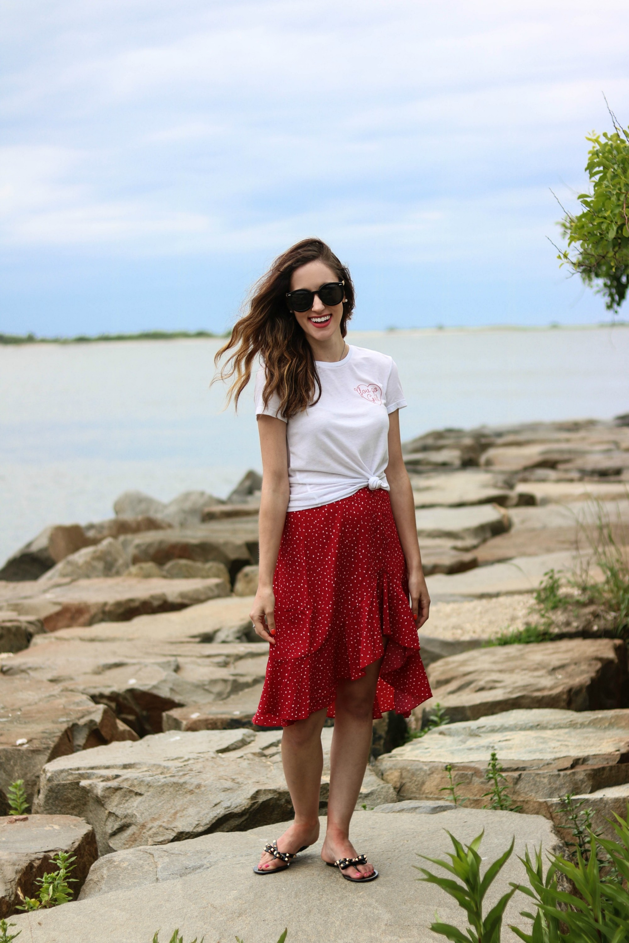 #AskE - Q&A Post on Coming Up Roses, on Not Washing my Hair, Combatting Burnout/Overwhelm, my Favorite Face Cleanser, + MORE. Featuring white Express tee, red skirt from Shein, black studded flip flops (Valentino's dupes!)