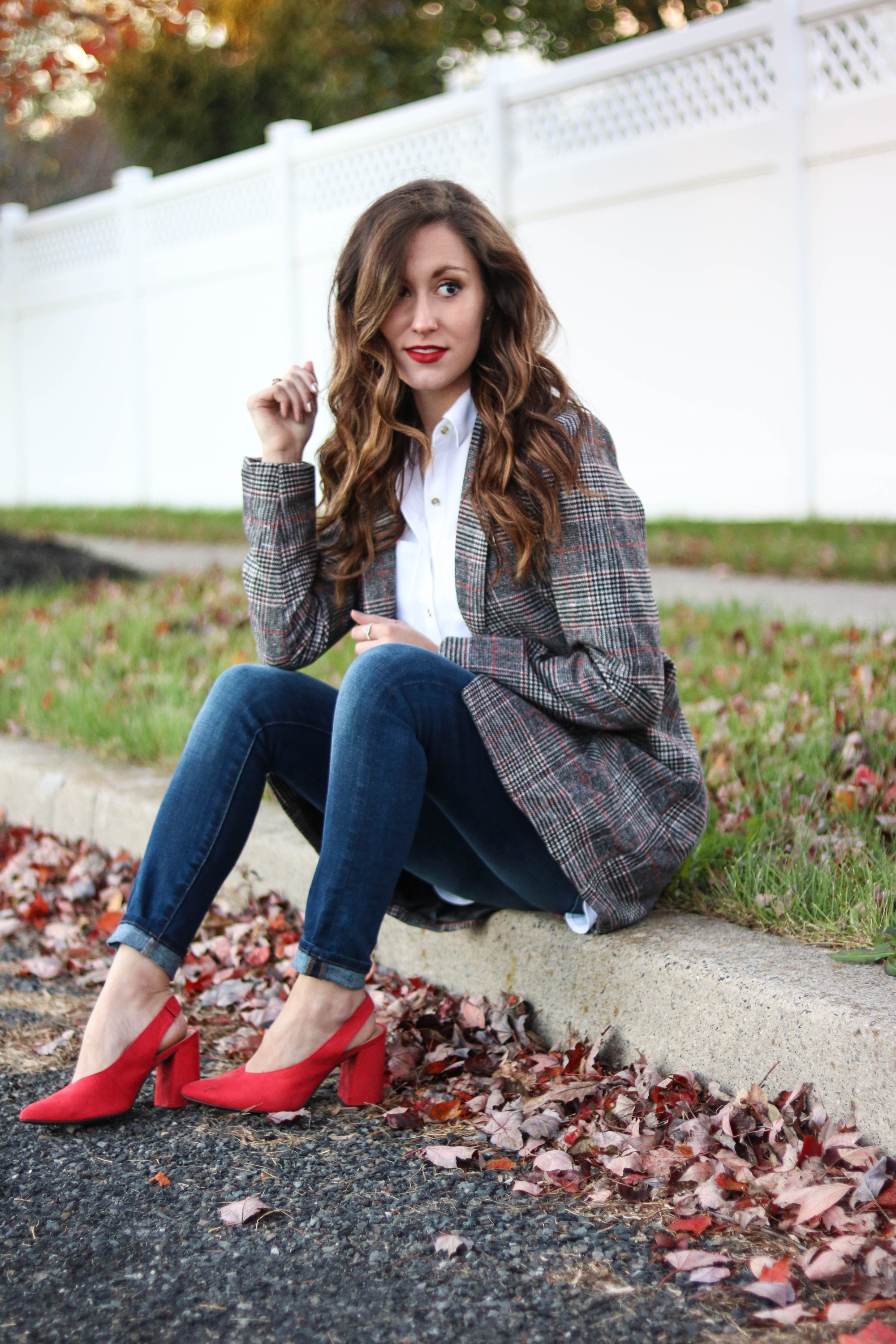 Trend to Try: Longline Plaid Blazer, on Coming Up Roses