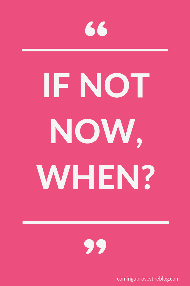 """If not now, WHEN?"" - Monday Mantra on Coming Up Roses"