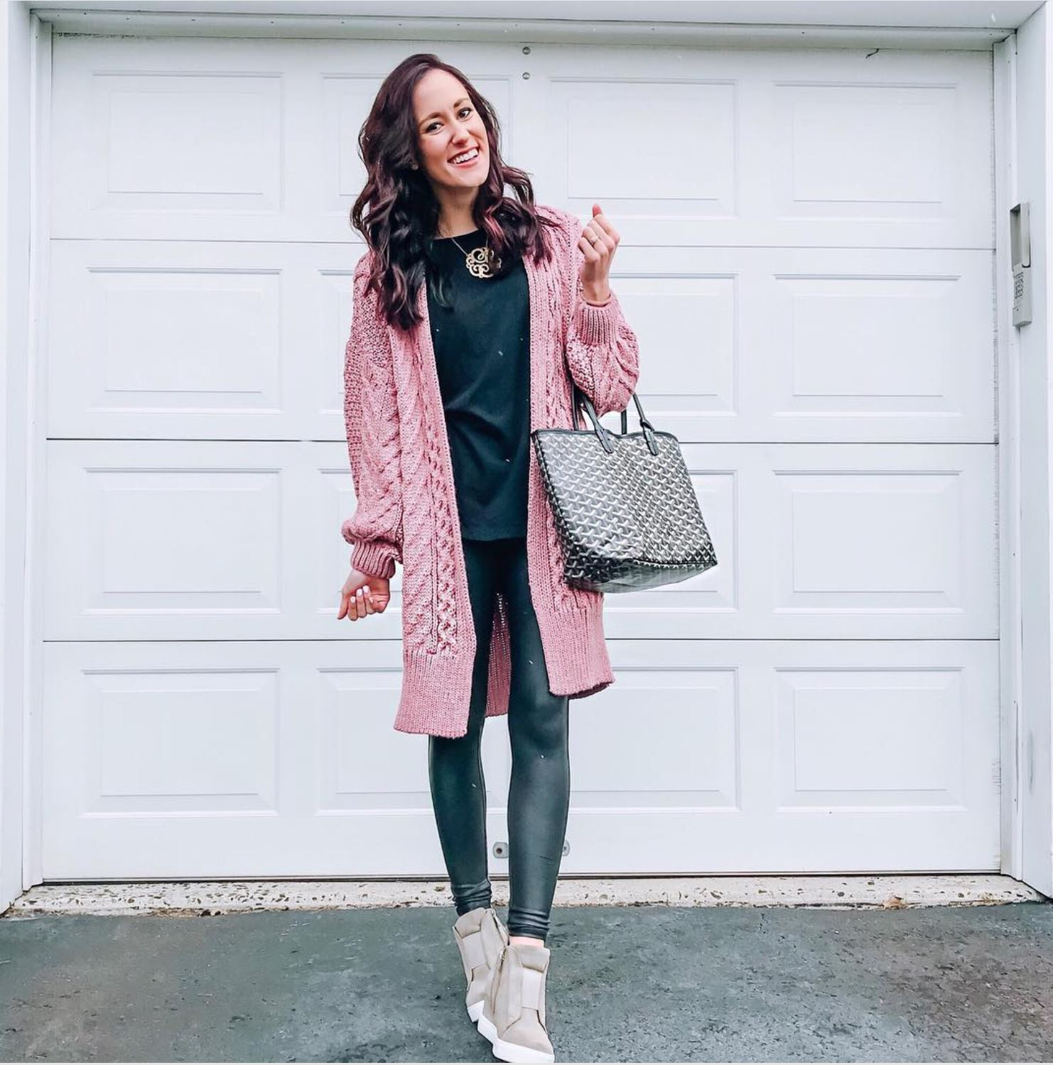 INSTAGRAM LATELY on Coming Up Roses - Topshop cardigan, spanx leather leggings