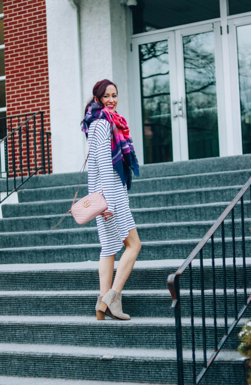 $15 Transitional Striped Dress - Life Updates on Coming Up Roses, blanket scarf, gucci bag