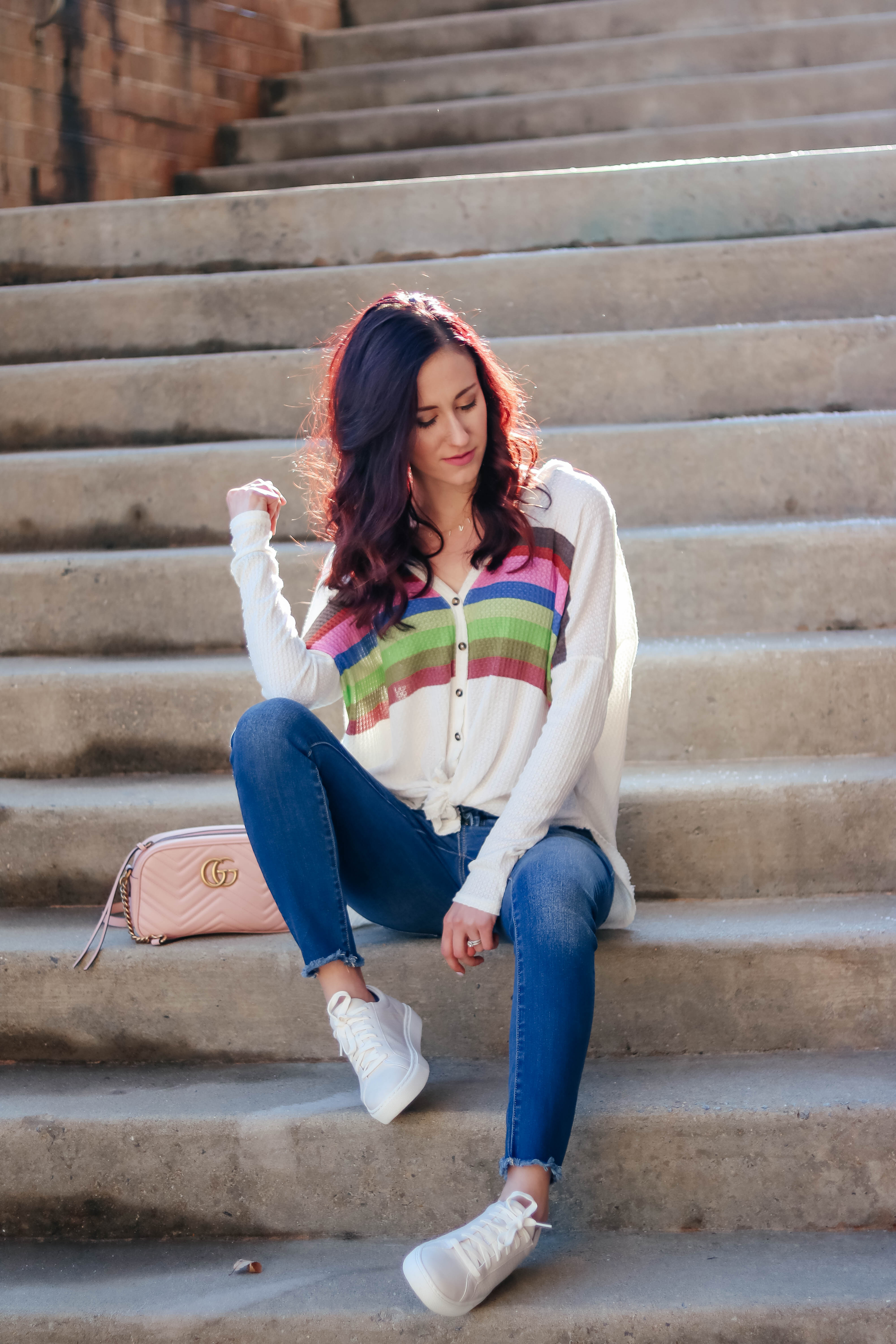 #AskE - What I'm Reading, My Favorite Moroccanoil Products, Balance with a Baby + MORE - Urban Outfitters thermal top, best jeans, Dr. Scholl's sneakers, pink Gucci bag on Coming Up Roses