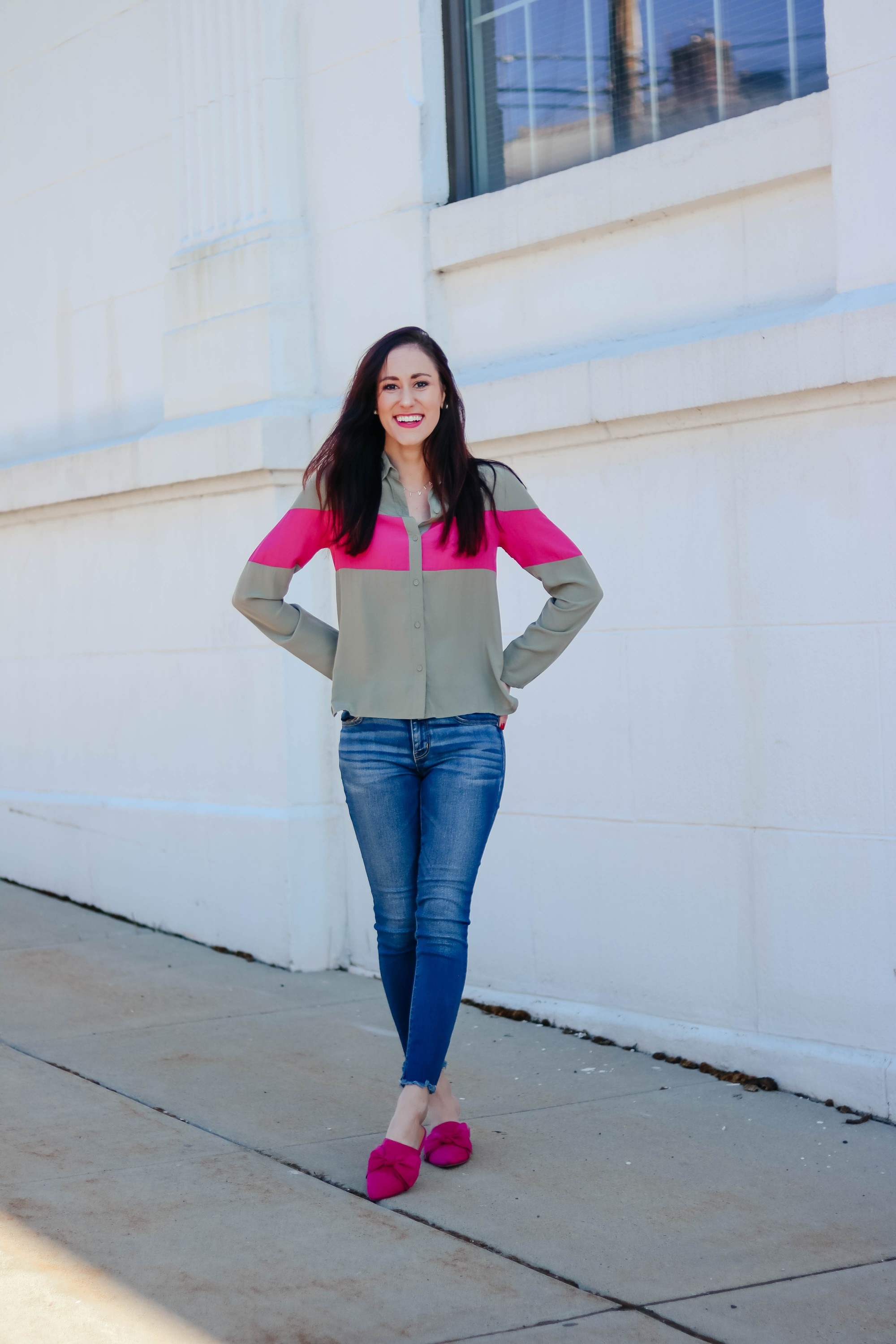 On This Month's Radar - Striped blouse, American Eagle jeans, spring outfit on Coming Up Roses